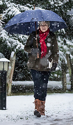 © Licensed to London News Pictures. 10/12/2017. Reading, UK.  Theresa May attends church in heavy snow.  Photo credit: Peter Macdiarmid/LNP