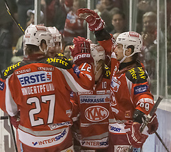 05.03.2013, Stadthalle, Klagenfurt, AUT, EBEL, EC KAC vs Graz 99ers, playoff best of seven, 5. Runde, im Bild Thomas Hundertpfund (Kac, #27), Raphael Herburger (Kac, #89), John Lammers (Kac, #20), Tylor Spurgeon (Kac, #9) // during the Erste Bank  Icehockey League playoff best of seven 5th round match between EC KAC and Graz 99ers at the City Hall, Klagenfurt, Austria on 2013/03/05. EXPA Pictures © 2013, PhotoCredit: EXPA/ Mag. Gert Steinthaler