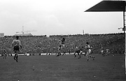 Two players meet mid air fighting for the ball during the All Ireland Senior Gaelic Football Final, Kerry v Dublin in Croke Park on the 28th September 1975. Kerry 2-12 Dublin 0-11.