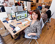 "Brooke Moreland, Co-founder and CEO of Fashism.com with her team in their startup space located within General Assembly shared offices in New York. Brooke Moreland (Co-Founder) created Fashism.com after walking out of the dressing room looking for her husband's opinion and found an empty couch. She thought, ""There must be a way to get an unbiased opinion using that internet everyone is talking about."" Thus, Fashism.com was born."