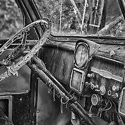 Abandoned Chevrolet Truck Interior Dash - Eldorado Canyon - Nelson NV - HDR - Black & White