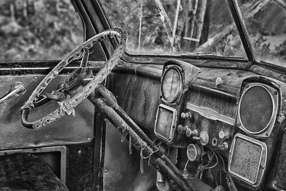 Abandoned Chevrolet Truck Interior Dash - Eldorado Canyon - Nelson NV - HDR - Black & White