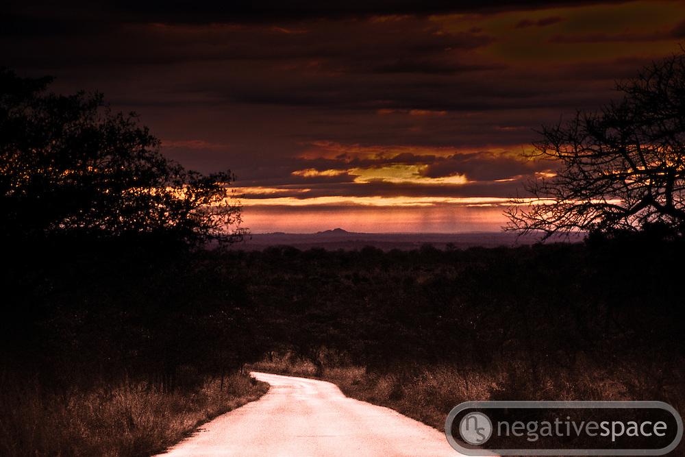 Sunset dirt road, Kruger National Park, South Africa