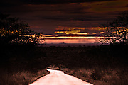 Sunset dirt road, Kruger National Park, South Africa