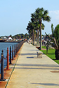 The seawall on Matanza's Bay in downtown St. Augustine, Florida. This portion of the seawall runs between the Castillo de San Marco and the Bridge of Lions. St. Augustine is the Nation's oldest continually occupied city. It was founded in 1565 by Pedro Menendez de Aviles