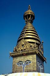 NEPAL KATHMANDU APR95 - Stupa of the Shwayambunath Temple in western Kathmandu. The Shwayambunath temple is one of the three major religious sites in Nepal. <br /> <br /> jre/Photo by Jiri Rezac<br /> <br /> © Jiri Rezac 1995<br /> <br /> Tel: +44 (0) 7050 110 417<br /> Email: info@jirirezac.com<br /> Web: www.jirirezac.com