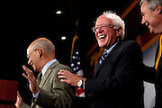 Rep. PETER DEFAZIO (D-OR), Senator BERNIE SANDERS (I-VT) and Senator SHELDON WHITEHOUSE (D-RI) and during a news conference on Capitol Hill Wednesday announcing legislation to safeguard Social Security.