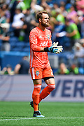 Stefan Frei #24 of Seattle Sounders looks at the crowd during a break in the action at the MLS soccer game against the New England Revolution on Saturday, Aug. 10, 2019, in Seattle. (Alika Jenner/Image of Sport)