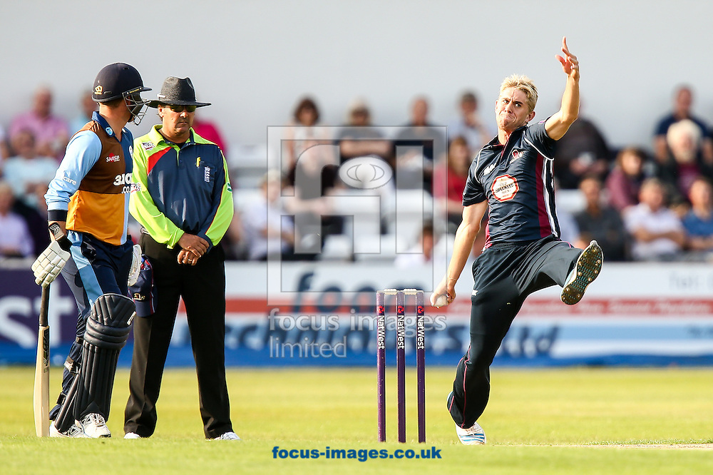 Olly Stone of Northants Steelbacks (right) in delivery stride during the Natwest T20 Blast match at the County Ground, Northampton<br /> Picture by Andy Kearns/Focus Images Ltd 0781 864 4264<br /> 11/07/2014