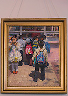 Painting picturing children carrying Mickey Mouse back bags in an Art Gallery in Wonsan, North Korea.  Even in the officials paintings made by State artists, you can see Disney characters on the various  Chinese products that invaded North korea. Most of the people ignore their origin and meaning.
