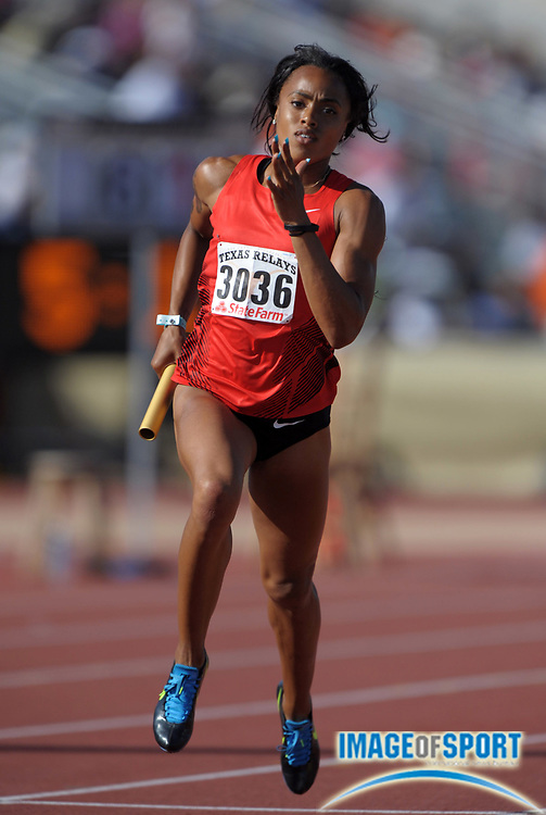 Mar 31, 2012; Austin, TX, USA; Jasmine Chaney runs the first leg on the Hart of Texas womens 4 x 400m relay that won in 3:27.03 in the 85th Clyde Littlefield Texas Relays at Mike A. Myers Stadium.