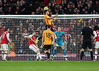 Football - 2019 / 2020 Premier League - Arsenal vs. Wolverhampton Wanderers<br /> <br /> Raul Jimenez (Wolverhampton Wanderers) leaps high to head towards the Arsenal goal at The Emirates Stadium.<br /> <br /> COLORSPORT/DANIEL BEARHAM