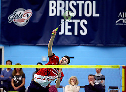 Chris Coles (Capt) of Bristol Jets hits a smash shot - Photo mandatory by-line: Robbie Stephenson/JMP - 06/02/2017 - BADMINTON - SGS Wise Arena - Bristol, England - Bristol Jets v Surrey Smashers - AJ Bell National Badminton League