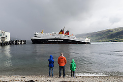 Caledonian Macbrayne ( Calmac) ferry from Stornaway on Isle of Lewis in Outer Hebrides approaching Ullapool ferry terminal in Scotland