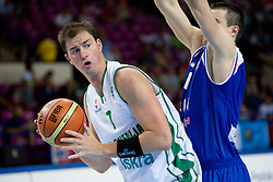 Primoz Brezec (7) of Slovenia during the basketball match at 1st Round of Eurobasket 2009 in Group C between Slovenia and Serbia, on September 08, 2009 in Arena Torwar, Warsaw, Poland. Slovenia won 84:76. (Photo by Vid Ponikvar / Sportida)