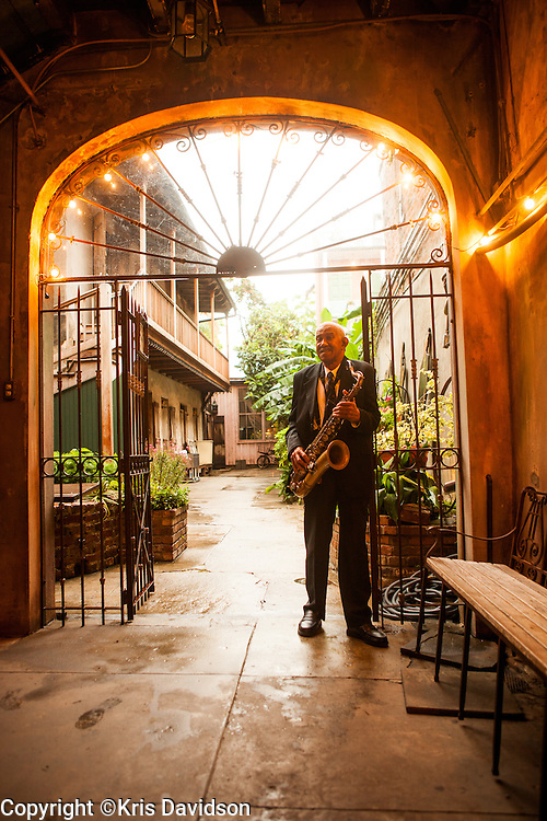 Saxophone player Daniel Farrow at the Preservation Hall in the French Quarter.