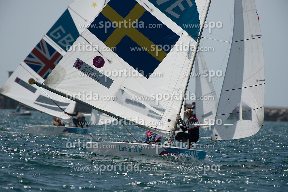 05.08.2012, Bucht von Weymouth, GBR, Olympia 2012, Segeln, im Bild Star Medal Race.Percy Iain, Simpson Andrew, (GBR, Star).Loof Fredrik, Salminen Max, (SWE, Star) // during Sailing, at the 2012 Summer Olympics at Bay of Weymouth, United Kingdom on 2012/08/05. EXPA Pictures © 2012, PhotoCredit: EXPA/ Juerg Kaufmann ***** ATTENTION for AUT, CRO, GER, FIN, NOR, NED, POL, SLO and SWE ONLY!