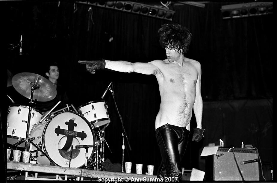 Lux Interior, lead singer of the Cramps, 5/5/1980, Los Angeles, California. (Photo: Ann Summa).