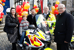 Repro Free: 02/04/2013 Pictured at the launch of Blood Bike East is Thomas Fegan (8) from Kiliney is pictured with (from left) Melrona Doyle, Head of Customer Support at DoneDeal, Cathal Cremen, Commercial Manager at DoneDeal, Pat McCabe, Blood Bike East and Finbarr Garland, Head of Safety at DoneDeal. Blood Bike East is a charitable organisation that delivers blood & medical products by motorbike between hospitals in Leinster free of charge. It is an entirely volunteer run organisation and Blood Bike East riders are highly trained and can safely negotiate traffic where large vehicles would be unable to do so, unless an emergency blue light vehicle is taken off an already overstretched service. DoneDeal's recent donation of ?32,309 facilitated the purchase of additional motorcycles and their maintenance which was key to today's launch that sees the service roll out across all of Leinster. Pic Andres Poveda