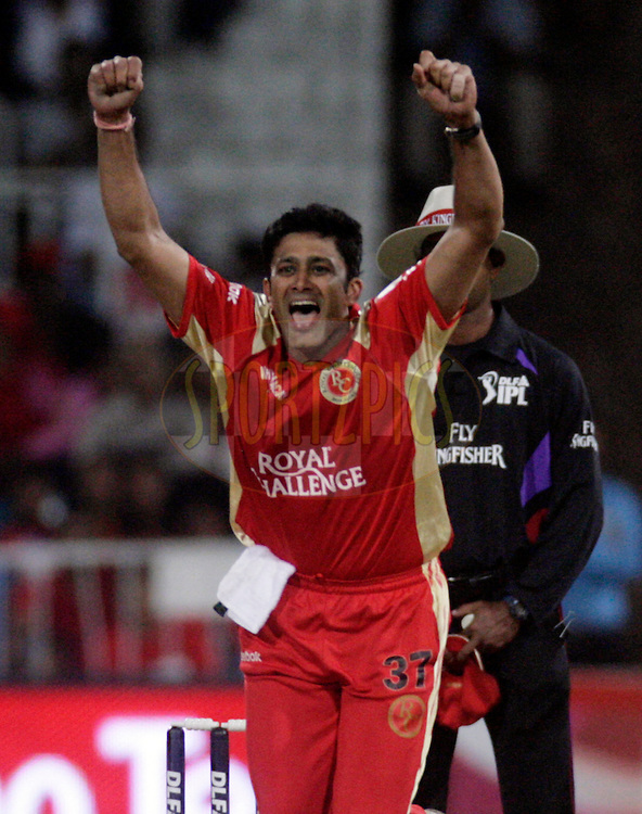 DURBAN, SOUTH AFRICA - 1 May 2009. Anil Kumble celebrates a wickets during the IPL Season 2 match between Kings X1 Punjab and the Royal Challengers Bangalore held at Sahara Stadium Kingsmead, Durban, South Africa..