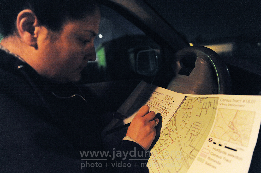 Volunteer Daniela Mejia check ger census tract map during the 2017 Point-In-Time Homeless Count and Survey conducted by the Coalition of Homeless Service Providers in Salinas early Wednesday morning, Jan. 25th.