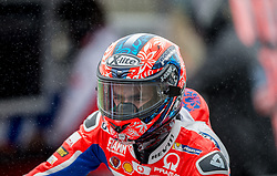 October 21, 2017 - Melbourne, Victoria, Australia - Italian rider Danilo Petrucci (#9) of OCTO Pramac Racing leaves his garage during a wet third free practice session at the 2017 Australian MotoGP at Phillip Island, Australia. (Credit Image: © Theo Karanikos via ZUMA Wire)