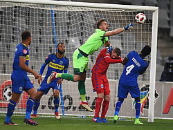 Cape Town-180804 Cape Town City goalkeeper Peter Leeuwenburg punches a dangerous ball against  Supersport in the first game of the 2018/2019 season at Cape Town Stadium.photograph:Phando Jikelo/African News Agency/ANAr