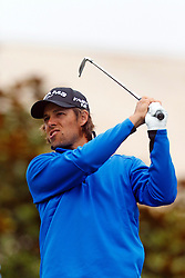 Feb 12, 2012; Pebble Beach CA, USA;  Aaron Baddeley hits his tee shot on the first hole during the final round of the AT&T Pebble Beach Pro-Am at Pebble Beach Golf Links. Mandatory Credit: Jason O. Watson-US PRESSWIRE