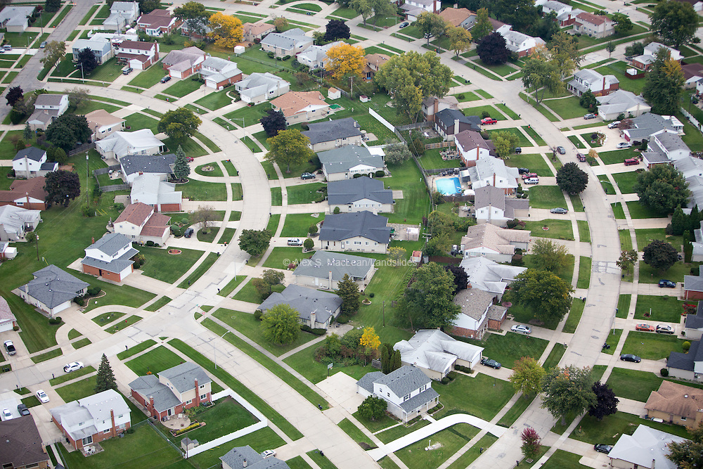 Middle Class Tract Housing in the Suburbs of Detroit
