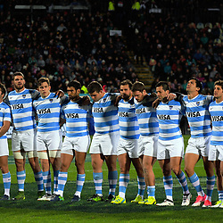 The Pumas line up before the Rugby Championship match between the NZ All Blacks and Argentina Pumas at Yarrow Stadium in New Plymouth, New Zealand on Saturday, 9 September 2017. Photo: Dave Lintott / lintottphoto.co.nz