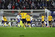 7.11.2011, Olympiastadion, Helsinki..UEFA European Championship 2012 Qualifying match, Finland v Sweden / EM-karsintaottelu Suomi - Ruotsi. .Martin Olsson (5) on tehnyt Ruotsin 2-0 maalin...