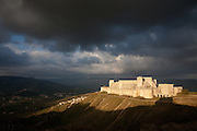 Krak des Chevaliers from the south West, Homs Gap, Syria. A Crusader castle in Syria and one of the most important preserved medieval castles in the world by unknown architect 1150 to 1250