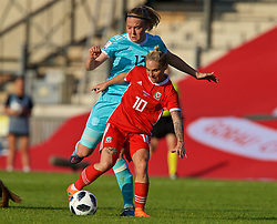 NEWPORT, WALES - Tuesday, June 12, 2018: Wales' Jessica Fishlock and Russia's Anna Belomyttseva during the FIFA Women's World Cup 2019 Qualifying Round Group 1 match between Wales and Russia at Newport Stadium. (Pic by David Rawcliffe/Propaganda)