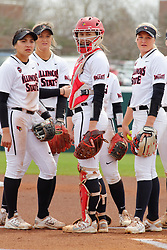 21 April 2018:  Redbird Softball infielders during a Missouri Valley Conference (MVC) women's softball game between the Drake Bulldogs and the Illinois State Redbirds on Marian Kneer Field in Normal IL