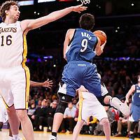 10 November 2013: Minnesota Timberwolves point guard Ricky Rubio (9) looks to pass past Los Angeles Lakers center Pau Gasol (16) during the Minnesota Timberwolves 113-90 victory over the Los Angeles Lakers at the Staples Center, Los Angeles, California, USA.