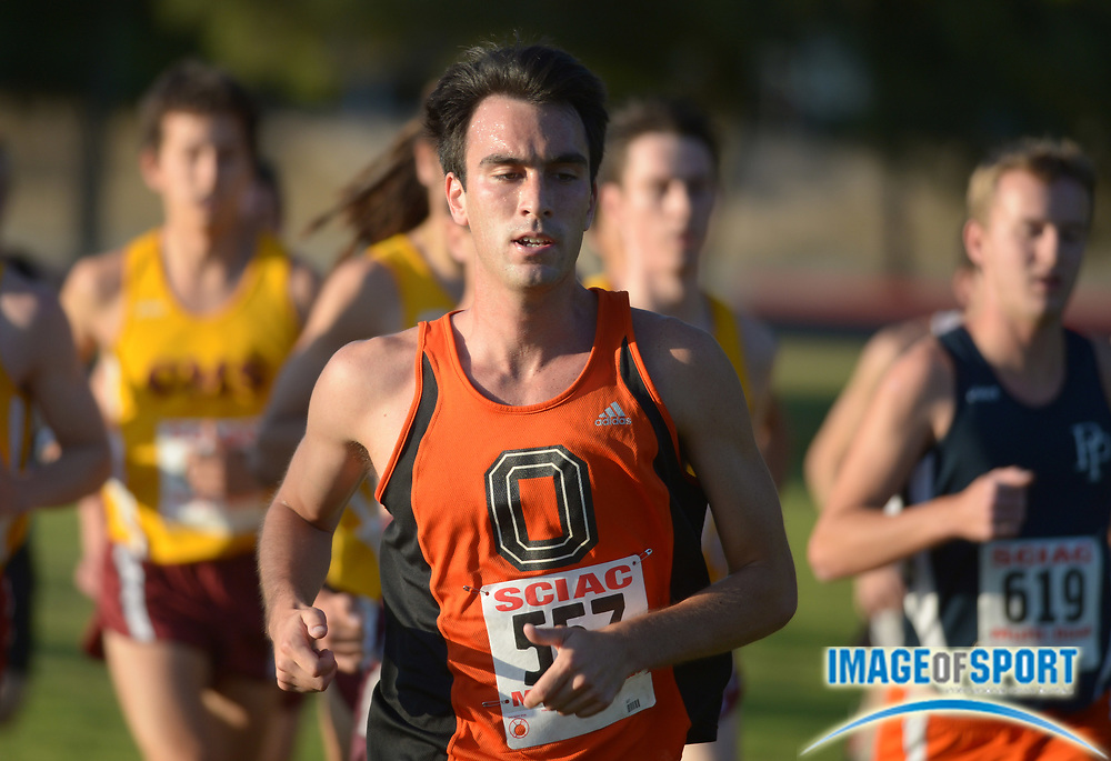 Oct 19, 2013; La Mirada, CA, USA; Shawn Dunn of Occidental competes in the mens race in the SCIAC multi-dual meet at La Mirada Park.
