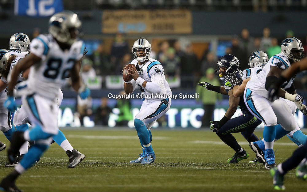 Carolina Panthers quarterback Cam Newton (1) drops back to pass in the second quarter during the NFL week 19 NFC Divisional Playoff football game against the Seattle Seahawks on Saturday, Jan. 10, 2015 in Seattle. The Seahawks won the game 31-17. ©Paul Anthony Spinelli