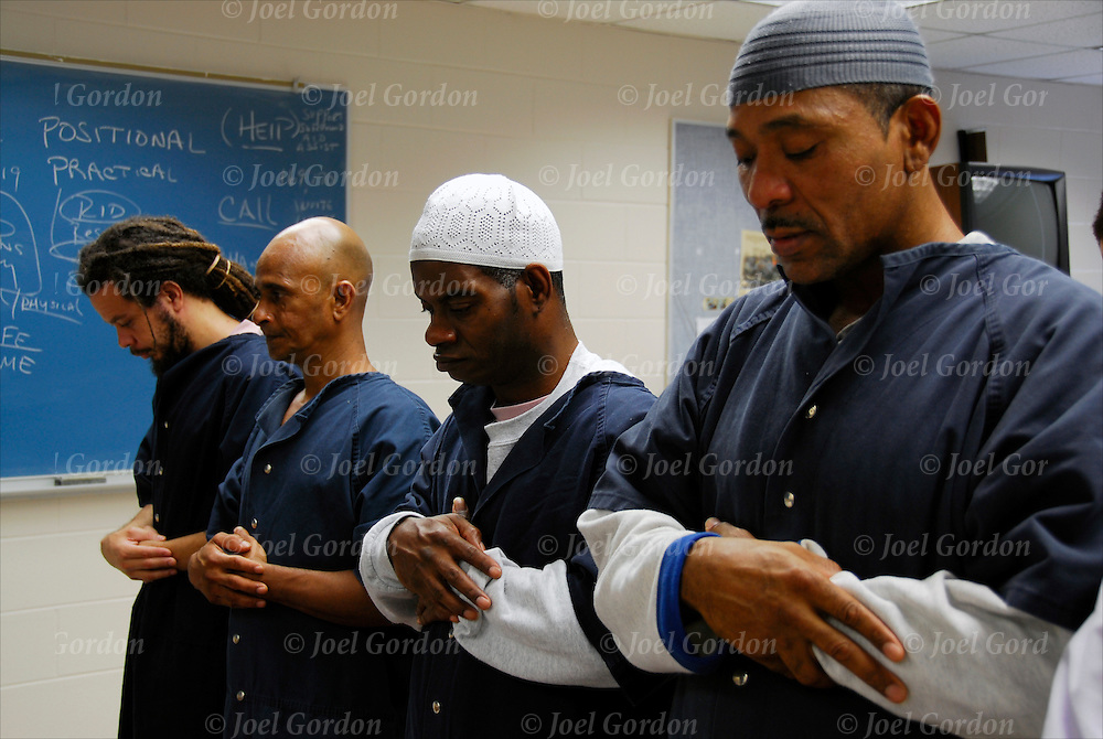 Example of freedom of religion in the Orange County Jail, FL.<br /> <br /> Jummah Congregational Prayer and Sermon lead by the Imam, Chaplain F.Rashid held in class room 6 in the Orange County Jail for Bilalian and African American Muslim inmates.  Muslin inmates will prey 5 times a day to Allah. .... Sajdah 1) Takbire-Tahrima.  2) Qiyam.  3) Ruku.  4) Qaumah  5) Sajdah. 6) Jalsa.  7) Quadah.  8) Right Salam.  9) Left Salam.<br /> <br /> Release # gray Kufi #2193, white KIufi #2194