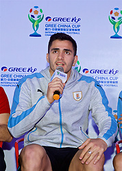 NANNING, CHINA - Saturday, March 24, 2018: Uruguay's Lucas Torreira during a meet & greet event at the Nanning Wanda Mall during the 2018 Gree China Cup International Football Championship. (Pic by David Rawcliffe/Propaganda)