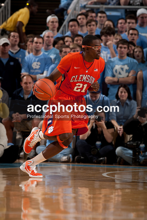 CHAPEL HILL, NC - FEBRUARY 18: Bryan Narcisse #21 of the Clemson Tigers during a game against the North Carolina Tar Heels on February 18, 2012 at the Dean E. Smith Center in Chapel Hill, North Carolina. North Carolina won 52-74. (Photo by Peyton Williams/UNC/Getty Images) *** Local Caption *** Bryan Narcisse