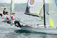 Yannick Lefebvre and Matthieu Jannsens (BEL), Sailing Olympic Test Event, 49er men's skiff Class, Weymouth, England