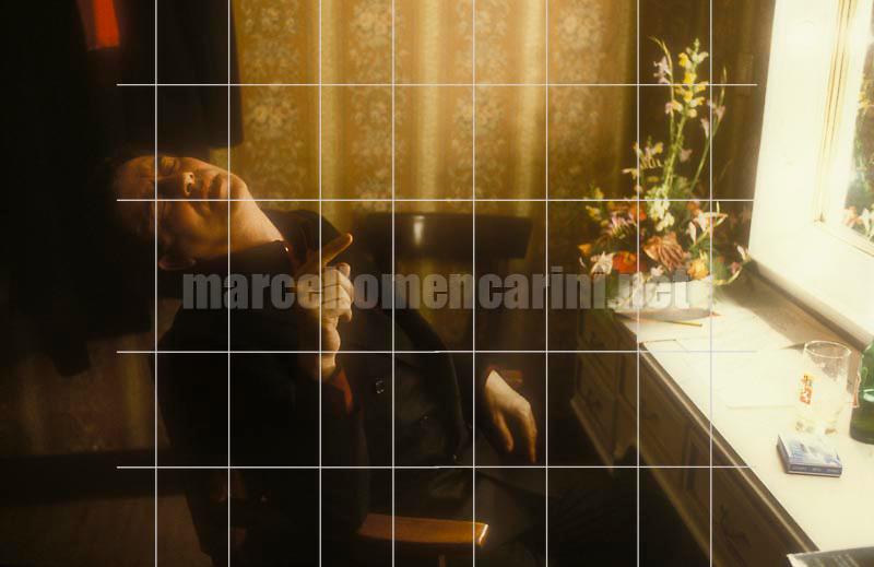 Pisa, Verdi Theater, 1982. Stage director and actor Carmelo Bene in his dressing room after a recital with Carmelo Bene / Pisa, Teatro Verdi, 1982. L'attore e regista teatrale Carmelo Bene in camerino dopo un recital con Eduardo De Filippo -  © Marcello Mencarini