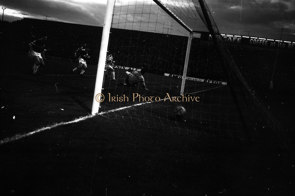29/04/1964<br /> 04/29/1964<br /> 29 April 1964 <br /> F.A.I. Cup Final replay- Shamrock Rovers v Cork Celtic at Dalymount Park, Dublin. Rovers won the game 2-1. Rovers goalie, Pat Dunne is well beaten by the Celtic goal.