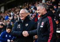 Football - 2018 / 2019 Premier League - Fulham vs. Manchester United<br /> <br /> Fulham manager Claudio Ranieri with Manchester United caretaker manager Ole Gunnar Solskjaer before the game, at Craven Cottage.<br /> <br /> COLORSPORT/ASHLEY WESTERN