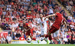 BRADFORD, ENGLAND - Saturday, July 13, 2019: Liverpool's James Milner scores the second goal from a penalty kick during a pre-season friendly match between Bradford City AFC and Liverpool FC at Valley Parade. (Pic by David Rawcliffe/Propaganda)