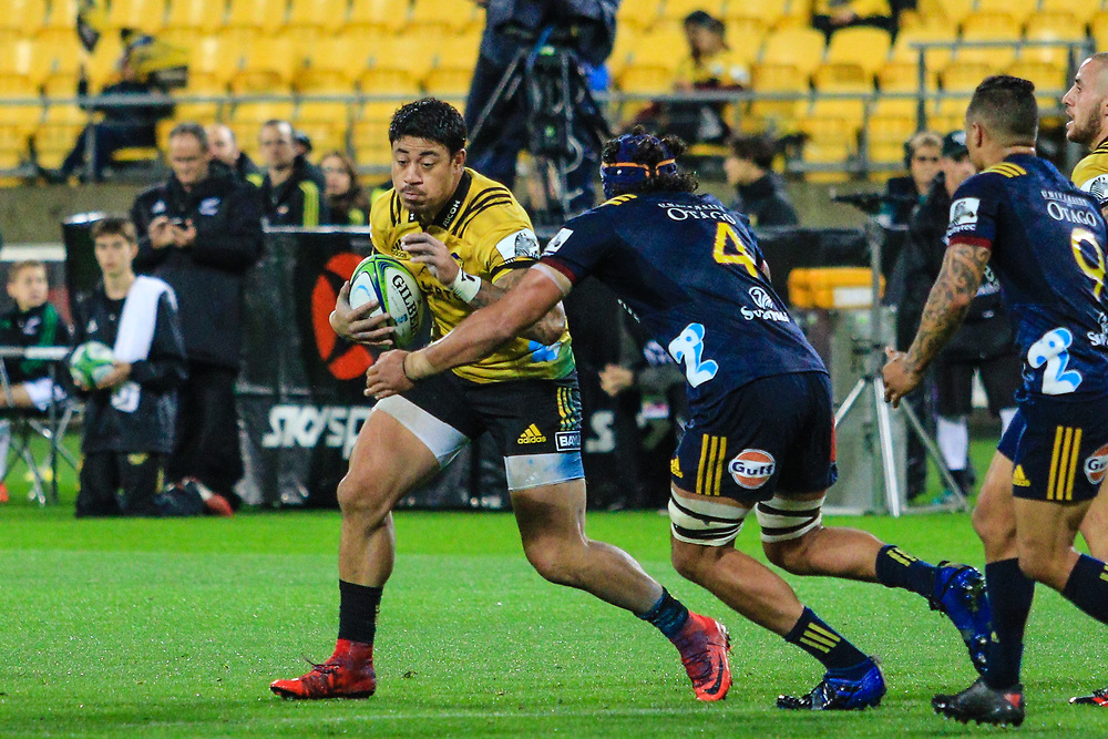 Ben Lam  running with the ball during the super rugby union  game between Hurricanes  and Highlanders, played at Westpac Stadium, Wellington, New Zealand on 24 March 2018.  Hurricanes won 29-12.