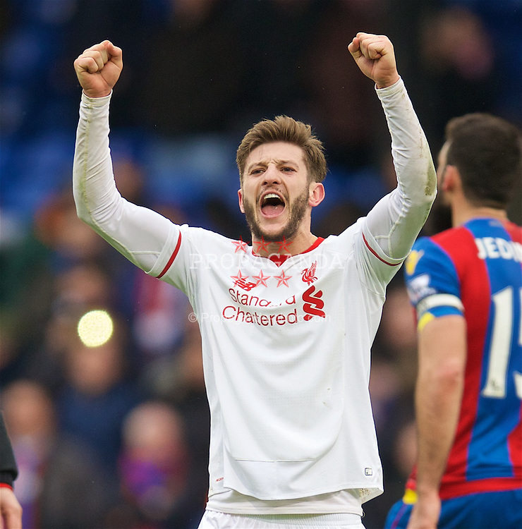 LONDON, ENGLAND - Sunday, March 6, 2016: Liverpool's Adam Lallana celebrates after the 2-1 victory over Crystal Palace during the Premier League match at Selhurst Park. (Pic by David Rawcliffe/Propaganda)