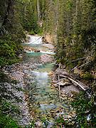 View of beautiful Johnston Creek, Johnston Canyon; Banff National Park, Alberta, Canada.