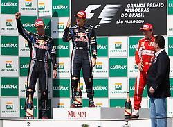 Motorsports / Formula 1: World Championship 2010, GP of Brazil, 06 Mark Webber (AUS, Red Bull Racing),   05 Sebastian Vettel (GER, Red Bull Racing), 08 Fernando Alonso (ESP, Scuderia Ferrari Marlboro),