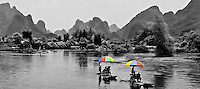Bamboo rafting on the Dragon River near Yangshuo.